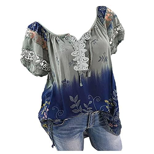 UNIQTA Blumen Oberteile Damen Kurzarm V-Ausschnitt Spitze Bedruckte Blattdruck Tops Lose T-Shirt Bluse Farbverlauf Kordelzug Oberteile für Frauen