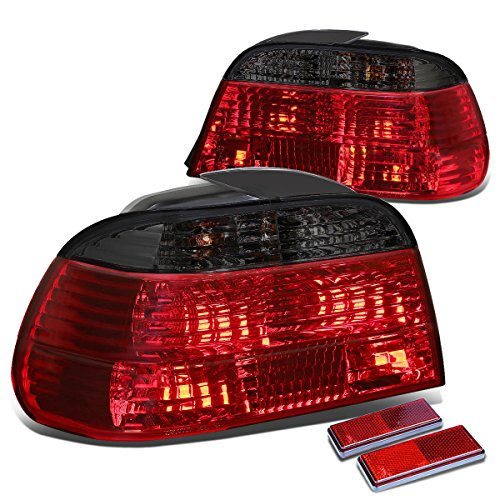 Replacement for BMW E38 7-Series 4Dr Pair of Smoke Lens Red Rear Brake+Signal Tail Light
