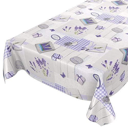 Nappe lavable Anro - Toile cirée - Nappe de table en toile cirée - Cœurs de lavande - Provence - Violet gris - Taille au choix, Toile cirée, Lavendel Herzen Provance Violett Grau, 180 x 140cm