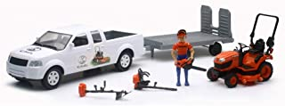 Kubota 1/18 Pickup Truck and Trailer w Mower, Figure & Accessories by New Ray