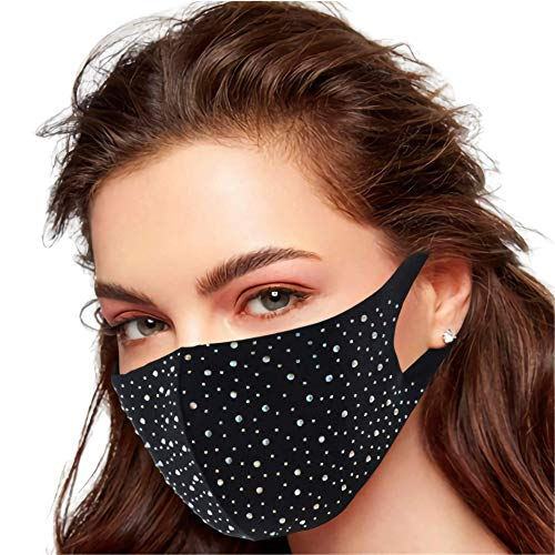Eaureum Fashion Rhinestone Face Coverings For Women Reusable Breathable Anti-Dust Face Bandanas