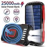 Chargeur Solaire 25000mAh Batterie Externe Portable avec 2 Lampes de Poche Ultra Lumineuses QI Sans Fil Power Bank Solaire avec 3 Sorties & 3 Entrées Batterie Solaire Externe Pour Randonnée Camping