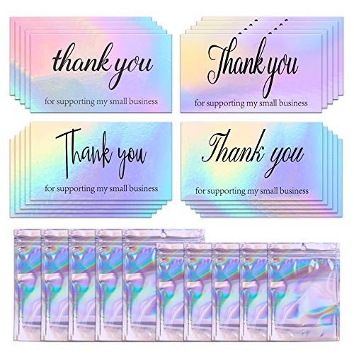 200 Stücke Thank You Cards Set, Holographisches Silber Thank You for Supporting My Small Business Karten Grußkarten Wiederverschließbare Geruchssichere Tasche für Kleinunternehmer Retail Geschäft