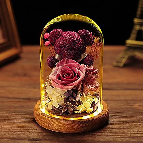 ZPF Conservado para Siempre, Caja de Regalo Hecha a Mano Rosa en una cúpula de Vidrio con luz LED a su Novia de mamá, para el Aniversario de la Madre del día de San Valentín Regalo