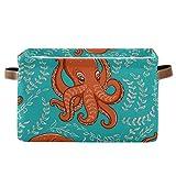 TripicalLife - Cesta de lavandería plegable con asas y bolsas de almacenamiento, diseño de pulpo naranja sobre fondo turquesa, 1 pieza