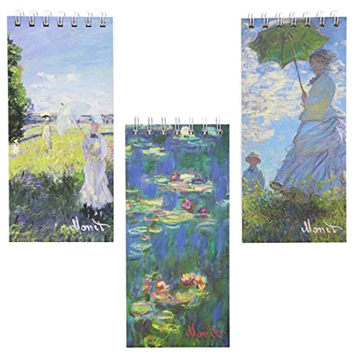 Hard Cover Travel Journal Notebooks with Monet Designs (8.4 x 3.75 in, 3 Pack)