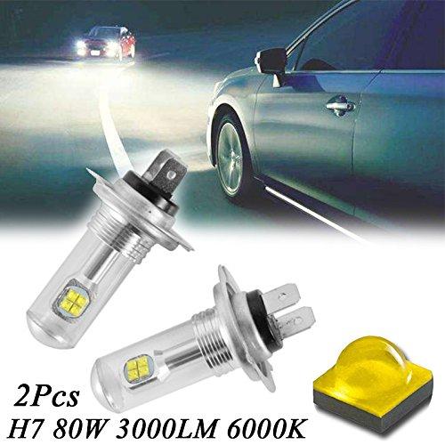 Tolyneil - 2 bombillas LED de repuesto para faro delantero de coche, H7, 80 W, 3000 lm, 6000 K, CREE