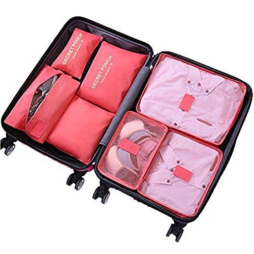 Set de 7 Cubos de Embalaje Organizadores de Viajes Bolsa de Lavandería Maletas Bolsas de Compresión Ropa Maleta Bolsas de Almacenamiento