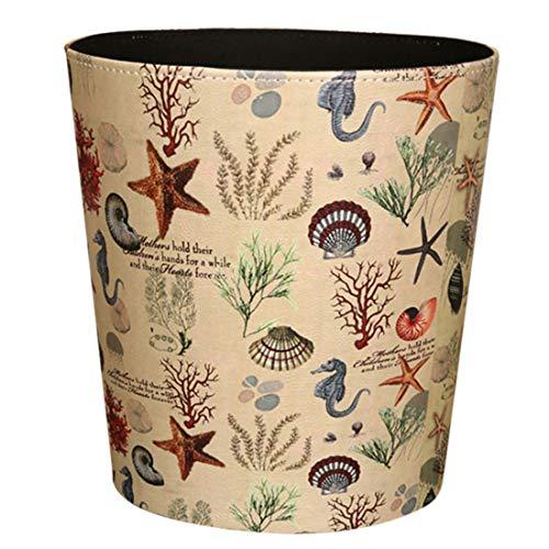 GODNECE wasserdichte 10L Papierkorb für Kinderzimmer Papierkorb Büro Leder Mülleimer Kinderzimmer (Unterwasserwelt)