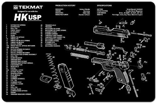 TekMat Pistole-Fußmatte mit Aufdruck und Heckler Koch USP-Schwarz, 11 x 17 cm