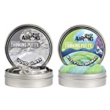"""Crazy Aaron's Thinking Putty 4"""" Tin Double Pack (6.4 oz) - Liquid Glass and Mystifying Mermaid Hypercolor - Crystal-Clear, See-Through andColor Changing Putty- Never Dries Out"""