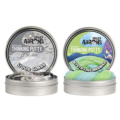 Crazy Aaron's Thinking Putty 4' Tin Double Pack (6.4 oz) - Liquid Glass and...