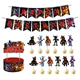 HONGFENG Five Nights at Freddy's Birthday Party Supplies,Include Happy Birthday Banner,Cake Topper,12 Cupcake Toppers for Children Five Nights at Freddy's Theme Party Decoration