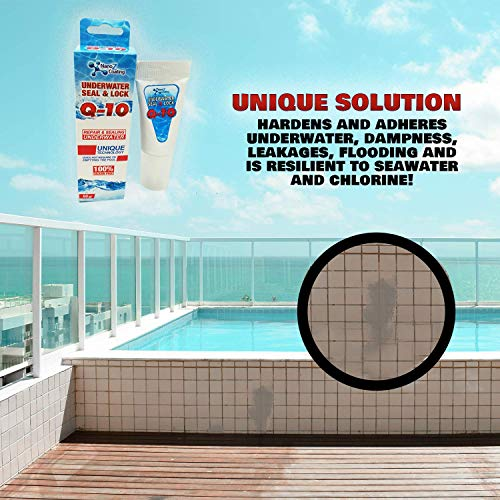 Nano Tech Q-10 Underwater Seal & Lock - Does Not Require Emptying The Pool, Reservoir or Tank. Leak Sealant Repair and Adhesive to Fix Cracks and Stop Leaks – Waterproof - Chlorine Resistant 2.1 oz.