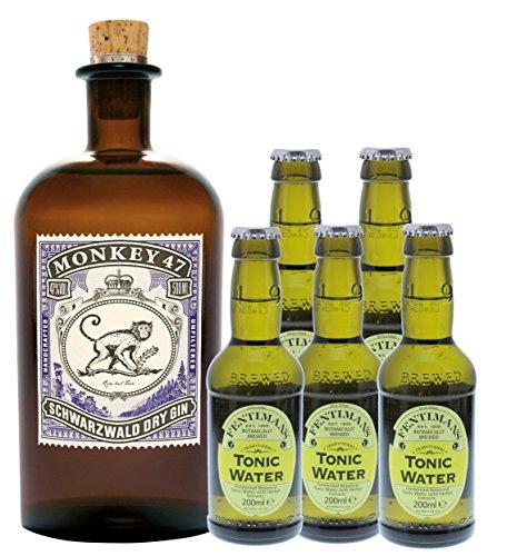 Monkey 47 Gin (1 x 0.5 l) mit Fentimans Tonic Water (5 x 0.2 l)