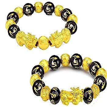 2 Pieces Feng Shui Bracelets Mantra Amulet Bead Obsidian Bracelets with Gold Plated Pi Xiu/Pi Yao for Women Men Adjustable Elastic - Good Luck Wealt  12mm