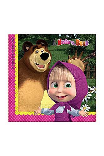 Ciao Procos Lot de 20 Serviettes en Papier « Macha et l'ours » 33 x 33 cm 2 Plis Multicolore Référence 86514