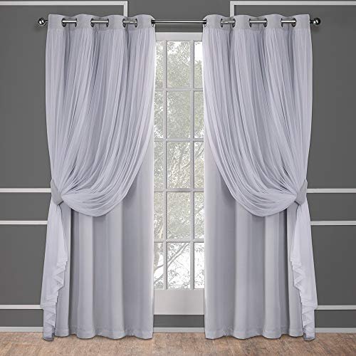 Exclusive Home Curtains Catarina Layered Solid Blackout and Sheer Window Curtain Panel Pair with Grommet Top, 52x96, Cloud Grey, 2 Piece
