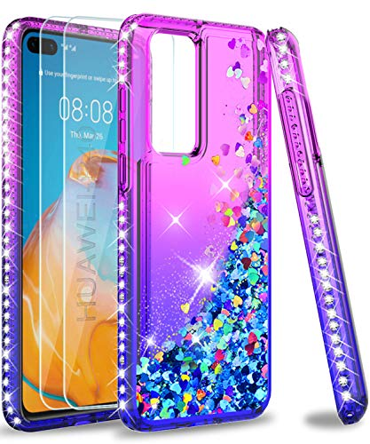 LeYi Funda Huawei P40 Silicona Purpurina Carcasa con [2-Unidades Cristal Vidrio Templado], Transparente Cristal Bumper Gel TPU Fundas Case Cover para Movil P40 Verde/Morado