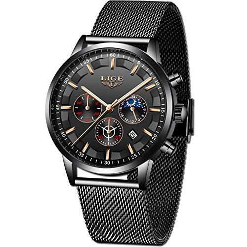 LIGE Hombres Relojes Clásico Negro Analógico Cuarzo Relojes Hombre Acero Inoxidable Militar Sports Cronógrafo Relojes
