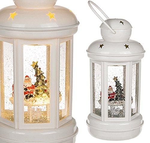 CBK-MS LED Weihnachtslaterne mit Schneekugel Effekt Nikolaus Laterne mit Glitter batteriebetrieb