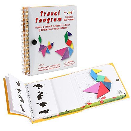 Coogam Viaje magnético Tangram Puzzles Libro Juego Tangrams Jigsaw Fo