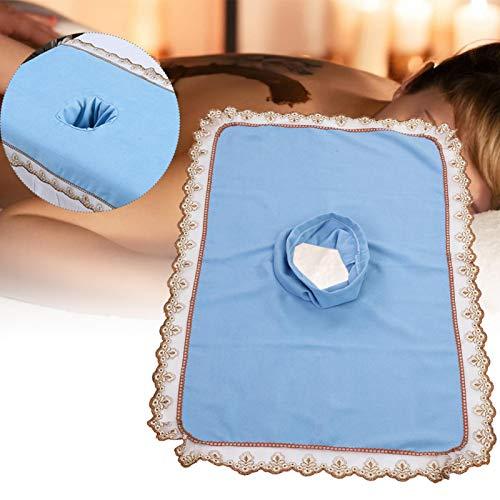 50 * 80 mesa de masaje cepillos para el cuidado de la cabeza, pelaje y pezuñas hoja de cubierta con orificio Belleza spa cabeza de cama toalla masaje colchón cara acostada [azul]