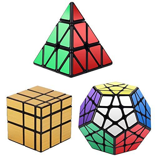 Vdealen- Magic Dodecahedron Megaminx + 3 x 3 x 3 x 3 + 3 x 3 dorato specchio Puzzle Cubo, confezione argento