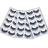 Huapan 3D Faux Mink Lashes: 15 Pairs of Fake Eyelashes with Lash Applicator