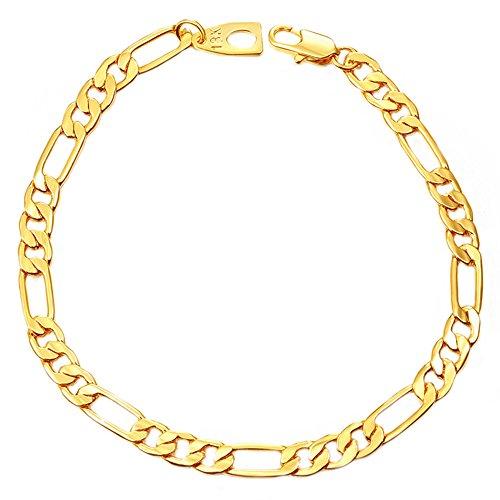 Greendou Fashion Jewelry - Brazalete de cadena Figaro chapada en oro de 18 quilates para hombre y mujer