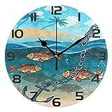 ALLdelete# Wall Clock Reloj de Pared Redondo náutico y de Peces Tropicales, silencioso, sin tictac, Oficina en el hogar, Escuela, Reloj Decorativo, Arte