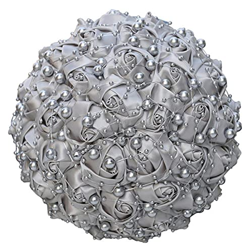 Bouquet da sposa in argento con damigella d'onore Bouquet di rose in raso di perle di diamanti Fatti a mano Decorazione della chiesa di nozze