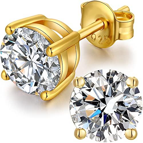 Pendientes Hombre,Pendientes Diamante,Pendientes Hombre Plata,Pendientes Circonita Plata De Ley 925,Pendientes Diamante Mujer Hombre Brillantes,Pendientes Zirconita Plata Oro Blanco 8mm