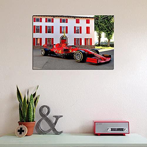 VVSUN Decoración Moderna para el hogar Impresión HD Rojo F1 Racing Cars Posters Lienzo Pintura para Sala de Estar Imagen de Arte de Pared 60X90cm 24x36 Pulgadas Sin Marco