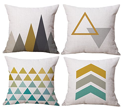 BLUETTEK Modern Simple Geometric Style Soft Linen Burlap Square Decor...