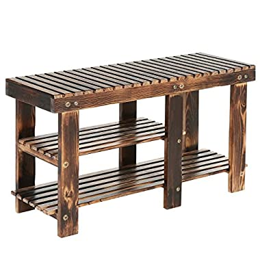 MyGift Freestanding 2-Tier Wood Shoe Rack, Country Rustic Wooden Entryway Storage Bench