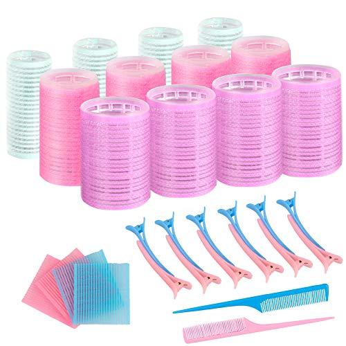 Self Grip Hair Rollers Set - SOOKIN 36PCS Hairdressing Curlers Self Holding Rollers in 3 Sizes with Duck Teeth Bows Hair Clips, Combs and Hair Bangs Patch Pad - for Hair Styling (Ø44 mm, 36 mm, 25mm)