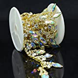 De.De. 1 Yard AB Resin Crystal Applique Rhinestone Bridal Trim Fashion Chain Fringe Embellishment Gold