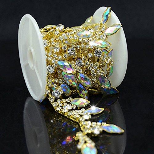 De.De. 1 Yard AB Resin Crystal Applique Rhinestone Bridal Trim Fashion Chain Fringe Embellishment (Gold)