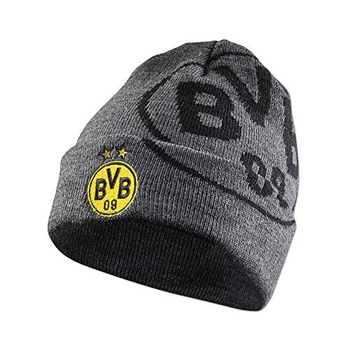 Borussia Dortmund BVB-Beanie in grau mit Logo