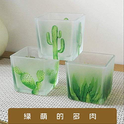 CFLFDC Candelabro Brodeo De Cristal De Cactus Conjunto Tres 8cm Romántico Vela Cena Aroma Vela Taza Brotes Verdes con Carne