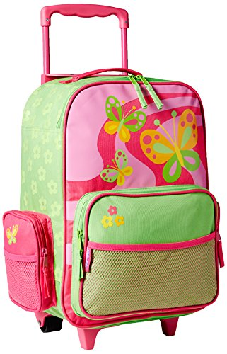 Stephen Joseph Girls Classic Rolling Luggage, Hot Pink/Lime Green, One Size