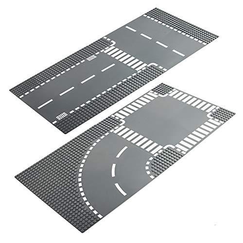 LVHERO 4 Kompatibel mit Straßenplatten Lego City, Gerade und T-Kreuzung, Kurve und Kreuzung, bunt
