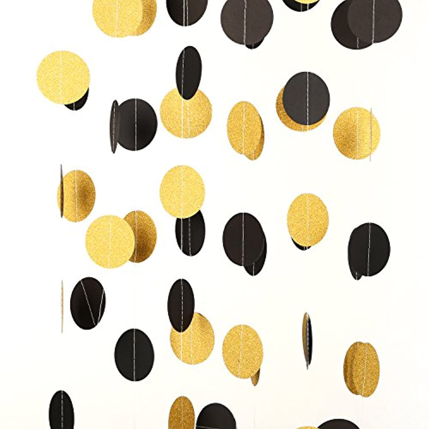MOWO Glitter Paper Garland Circle Dots Hanging Decor 2'' in Diameter 20-feet in Total(gold glitter,black,3pc)