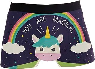 BONIPE Funny Unicorn Cow Rainbow Boxer Briefs Men's Underwear Boys Stretch Breathable Low Rise Trunks S-XL