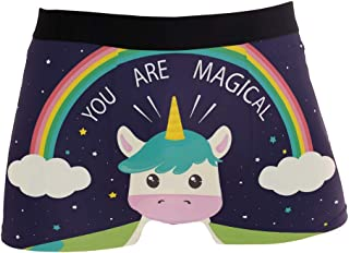 JERECY Funny Unicorn Cow Rainbow Boxer Briefs Men's Underwear Boys Stretch Breathable Low Rise Trunks S-XL