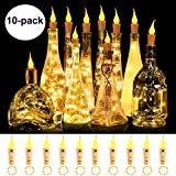 Wine Bottle Lights with Candle Flame Starry Fairy String Lights, 10 Pack Battery Operated LED Silver Wire Colorful Fairy Mini String Lights for Party, Decor, Christmas, Halloween, Wedding(Warm White)