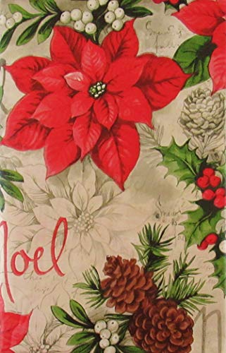 Noel Poinsettias, Christmas Holly, Mistletoe Pine Cones Vinyl Flannel Back Tablecloth (60' x 84' Oblong)
