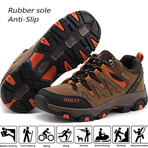 Lvptsh Zapatillas de Trekking para Hombre Botas de Montaña Zapatillas de Senderismo Calzado de Trekking Botas de Senderismo Antideslizantes AL Aire Libre Transpirable Sneakers,Marrón,EU42