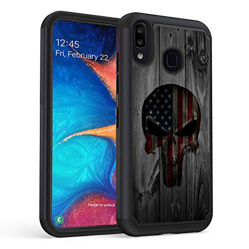 Galaxy A10E Case, Galaxy A20E Case,Rossy Heavy-Duty Hybrid Hard PC & Soft Silicone Dual Layer Shockproof Protection Case for Samsung Galaxy A10E /A20E,American Flag Skull on Wood